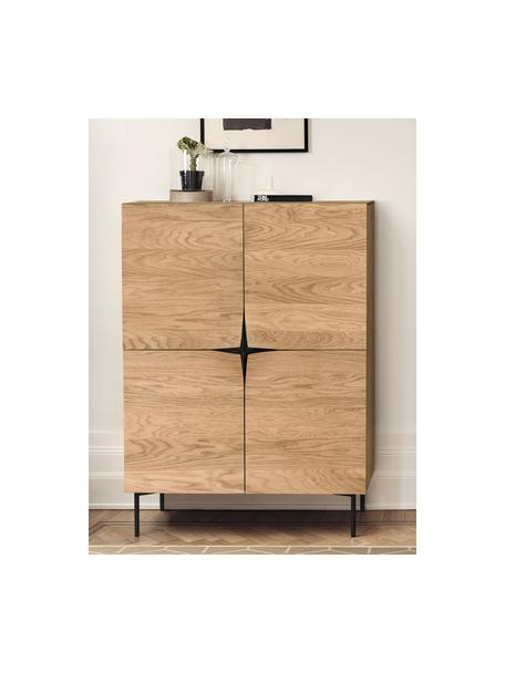 Highboard Filip aus Eichenholzfurnier mit Türen, Korpus: Sperrholz mit Eichenholzf, Eichenholz, Schwarz, 100 x 140 cm