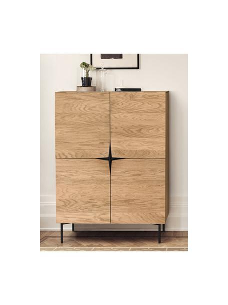 Highboard Filip van eikenhoutfineer met deuren, Frame: multiplex met eikenhoutfi, Poten: gepoedercoat metaal, Eikenhoutkleurig, zwart, 100 x 140 cm
