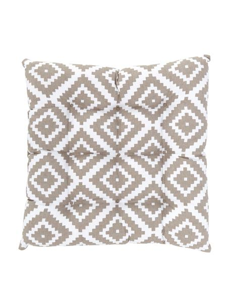 Cuscino sedia taupe/bianco Miami, Rivestimento: 100% cotone, Beige, Larg. 40 x Lung. 40 cm