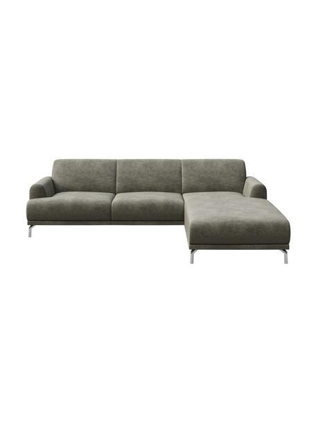 Sofa narożna z imitacją skóry Puzo, Tapicerka: 100% poliester imitujący , Nogi: metal lakierowany, Szary, S 240 x G 165 cm
