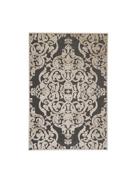 Vintage Viskoseteppich Marigot mit Hoch-Tief-Effekt, Flor: 100% Viskose, Grau, Creme, B 160 x L 230 cm (Grösse M)