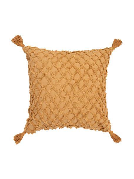 Kissenhülle Royal mit Hoch-Tief-Struktur und Quasten, 100% Baumwolle, Gelb, 45 x 45 cm