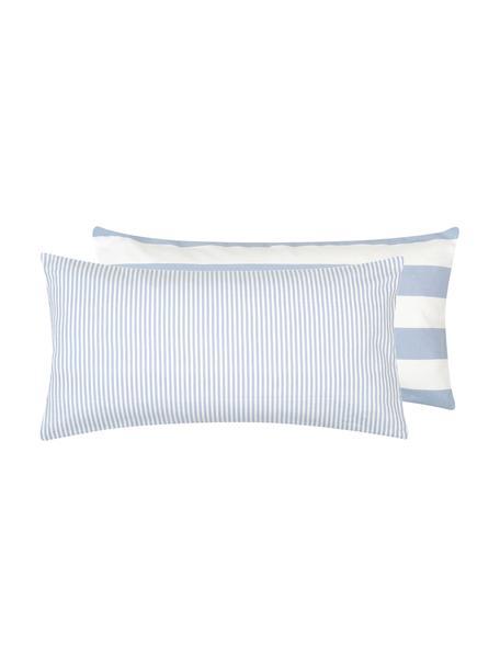 Dwustronna poszewka na poduszkę z flaneli Dora, 2 szt., Biały, jasny niebieski, S 40 x D 80 cm