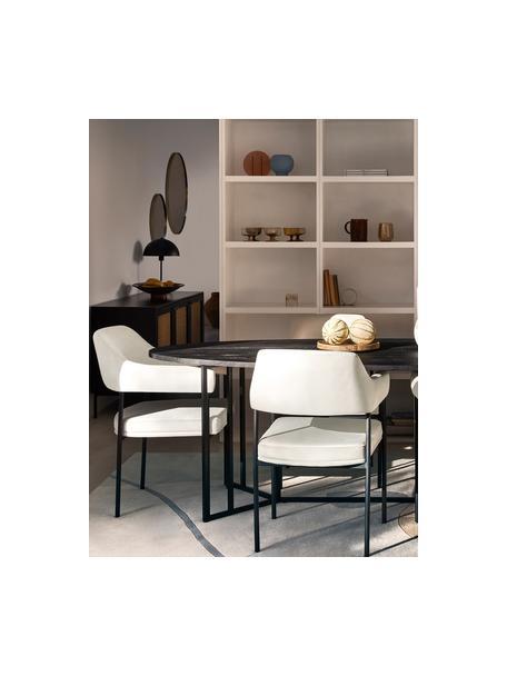 Krzesło z podłokietnikami z aksamitu Zoe, Tapicerka: aksamit (poliester) Dzięk, Aksamitny kremowobiały, S 56 x G 62 cm