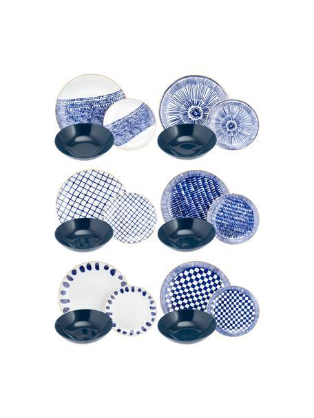 Set 18 piatti blu/bianco per 6 persone Mosai, Bianco, blu, blu scuro Bordo: oro, Set in varie misure