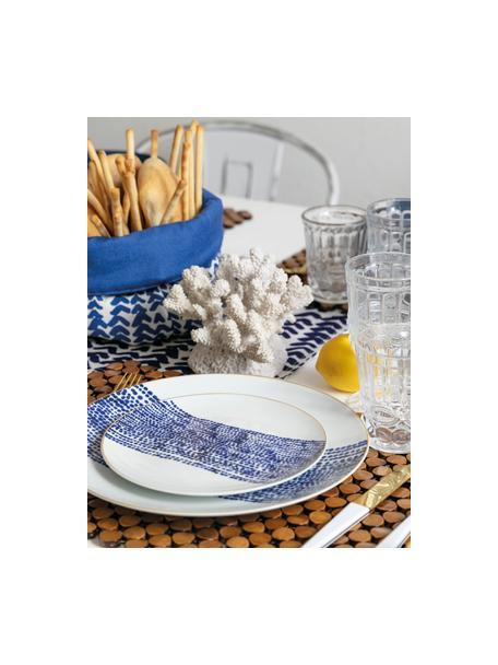 Serviesset met patroon Masai in blauw/wit, 6 personen (18-delig), Wit, blauw, donkerblauw. Rand: goudkleurig, Set met verschillende formaten