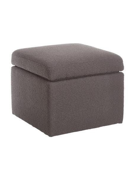 Puf de tejido bouclé Winou, con espacio de almacenamiento, Tapizado: Bouclé (100%poliéster) A, Estructura: metal, Bouclé gris, An 55 x Al 46 cm