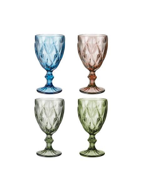 Set 4 bicchieri vino con motivo strutturato Colorado, Vetro, Multicolore, Ø 9 x Alt. 17 cm