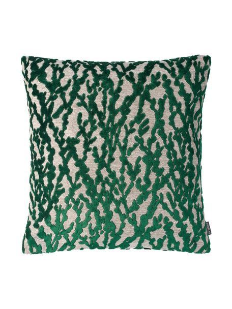 Kissenhülle Elio mit Strukturmuster in Grün/Beige, 52% Viskose, 41% Polyester, 7% Baumwolle, Grün, Beige, 40 x 40 cm