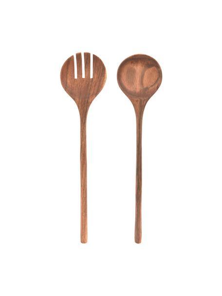 Komplet sztućców sałatkowych z drewna akacjowego Yanila, 2 elem., Drewno akacjowe, olejowane, Drewno akacjowe, D 30 cm