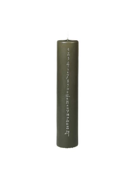 Adventskalenderkaars Calendar H 25 cm, Paraffinewas, Donkergroen, zilverkleurig, Ø 5 x H 25 cm