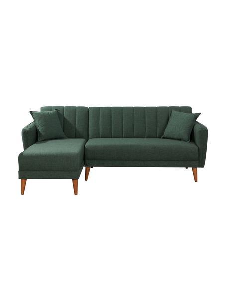 Sofa narożna z lnu z funkcją spania Aqua (3-osobowa), Tapicerka: len, Stelaż: drewno rogowe, metal, Nogi: drewno naturalne, Zielony, S 225 x G 145 cm