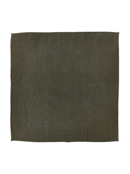 Linnen servetten Heddie in donkere olijfgroen, 2 stuks, 100% linnen, Donker olijfgroen, 45 x 45 cm