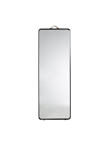 Specchio da parete con cornice in alluminio nero Norm, Cornice: alluminio verniciato a po, Manico: pelle, Superficie dello specchio: lastra di vetro, Nero, Larg. 60 x Alt. 170 cm