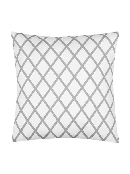 Kussenhoes Romy met ruitjesmotief in grijs/wit, 100% katoen, panamabinding, Grijs, crèmekleurig, 40 x 40 cm