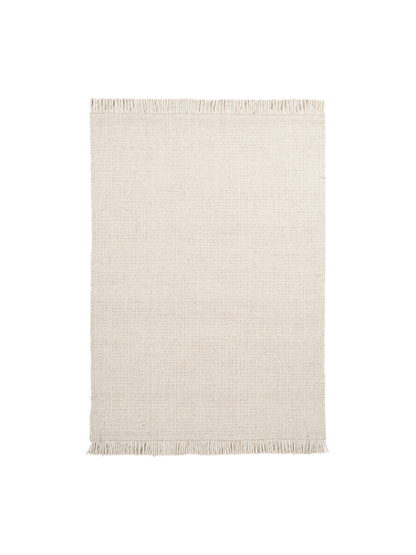 Alfombra artesanal de lana con flecos Eskil, Parte superior: 60%lana, 40%viscosa, Reverso: algodón, Crema, An 80 x L 150 cm (Tamaño XS)