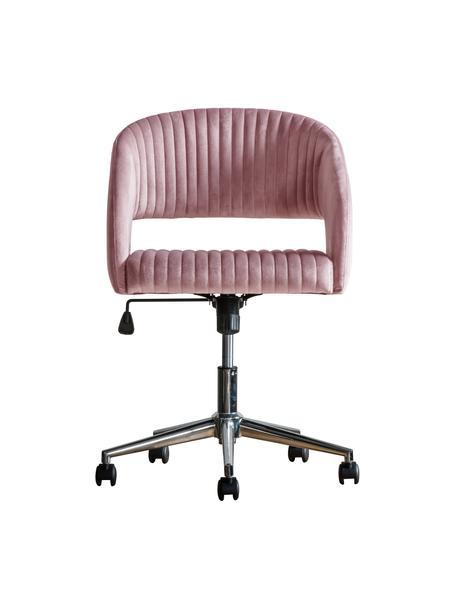 Fluwelen bureaustoel Murray, in hoogte verstelbaar, Bekleding: polyester fluweel, Poten: gegalvaniseerd metaal, Wieltjes: kunststof (nylon), Roze, 56 x 52 cm