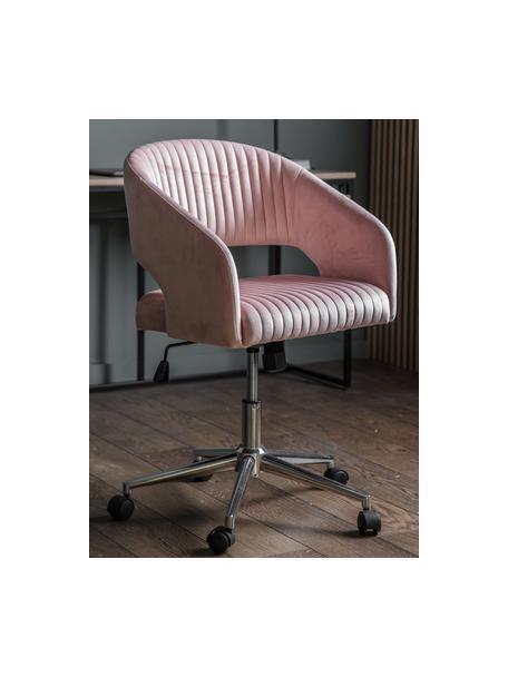 Obrotowe krzesło biurowe z aksamitu Murray, Tapicerka: aksamit poliestrowy, Nogi: metal galwanizowany, Różowy, S 56 x G 52 cm