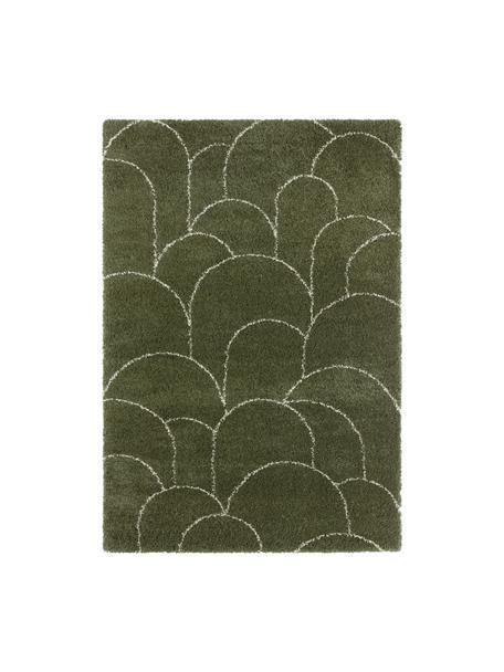 Tappeto a pelo lungo verde con motivo grafico Desso, 100% polipropilene, Verde bosco, crema, Larg. 160 x Lung. 230 cm (taglia M)