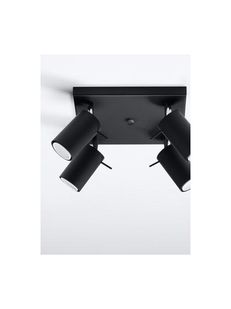 Kleine plafondspot Etna in zwart, Baldakijn: gelakt staal, Zwart, 25 x 15 cm