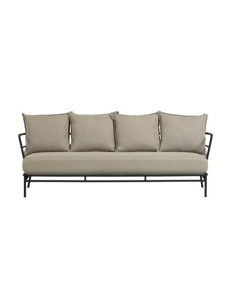 Tuin loungebank Mareluz (3-zits), Frame: verzinkt metaal en gelakt, Beige, 197 x 75 cm