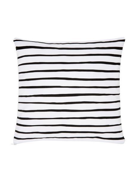 Funda de cojín Ola, 100%algodón, Negro, blanco, An 40 x L 40 cm