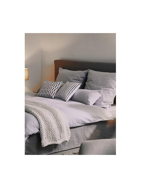 Gestreepte kussenhoes Ola, 100% katoen, Zwart, wit, 40 x 40 cm