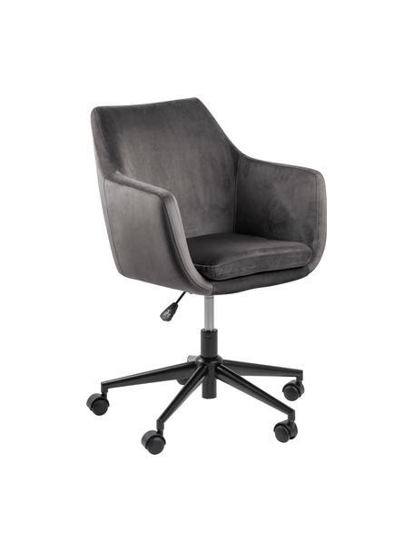 Krzesło biurowe z aksamitu Nora, obrotowe, Tapicerka: poliester (aksamit) 2500, Stelaż: metal malowany proszkowo, Aksamitny ciemny szary, S 58 x G 58 cm