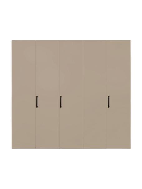 Kledingkast Madison in beige, 5 deuren, Frame: panelen op houtbasis, gel, Zandkleurig, 252 x 230 cm