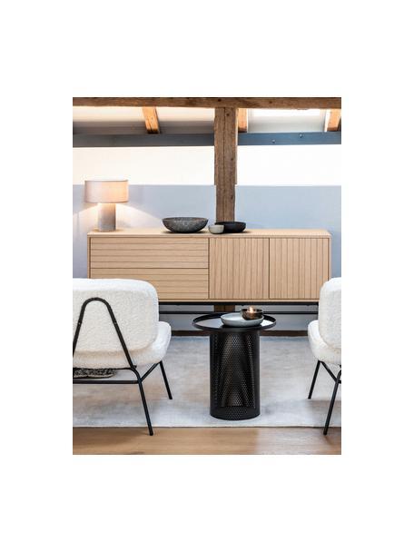 Modern dressoir Johan met deuren en eikenhoutfineer, Frame: MDF met eikenhoutfineer, Poten: gepoedercoat metaal, Lichtbruin, 160 x 75 cm