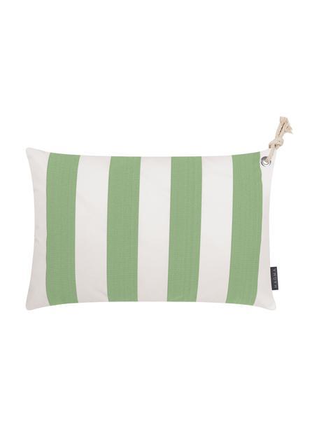 Gestreepte outdoor kussenhoes Santorin in groen/wit, 100% polypropyleen, Teflon® gecoat, Groen, wit, 40 x 60 cm