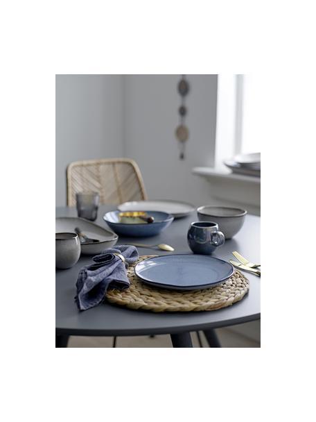 Ciotola in gres blu fatta a mano Sandrine, Ø 22 cm, Gres, Tonalità blu, Ø 22 x Alt. 5 cm