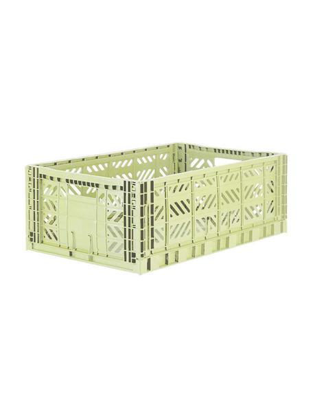 Caja plegable apilable Melon, grande, Plástico reciclado, Verde melón, An 60 x Al 22 cm