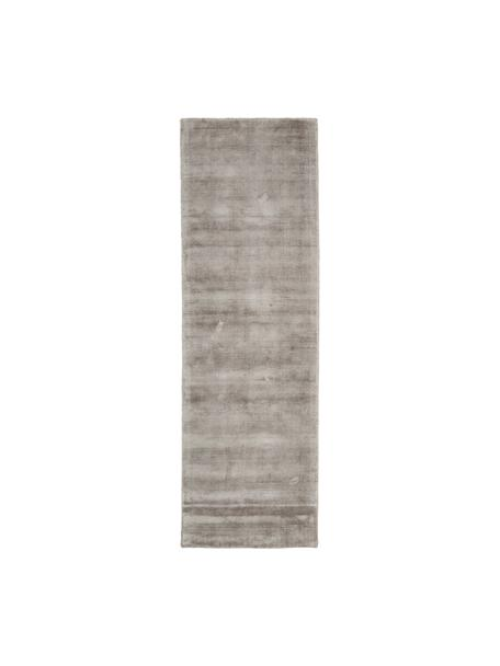 Passatoia in viscosa color taupe tessuta a mano Jane, Retro: 100% cotone, Taupe, Larg. 80 x Lung. 250 cm