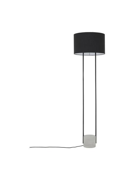 Vloerlamp Pipero met betonnen voet, Lampenkap: textiel, Lampvoet: beton, Frame: gepoedercoat metaal, Lampenkap: zwart. Lampvoet: mat zwart, grijs. Snoer: zwart, Ø 45 x H 161 cm