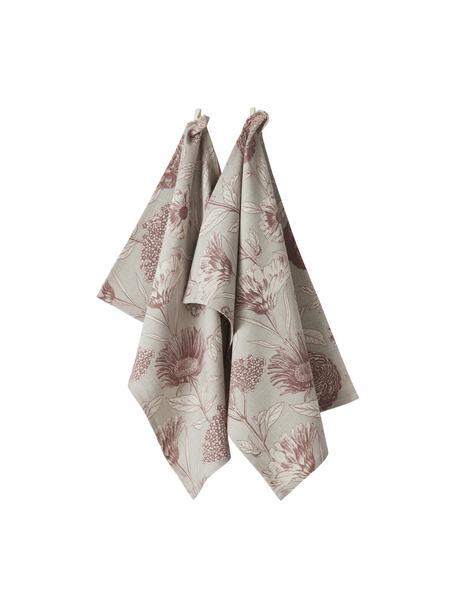 Geschirrtücher Freya mit Blumenmotiv, 2 Stück, 86% Baumwolle, 14% Leinen, Beige, Rot, 50 x 70 cm