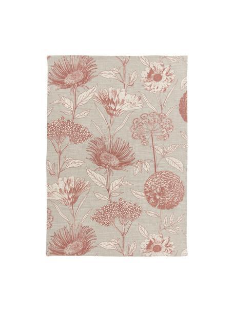 Strofinaccio con motivo floreale Freya 2 pz, 86% cotone, 14% lino, Beige, rosso, Larg. 50 x Lung. 70 cm