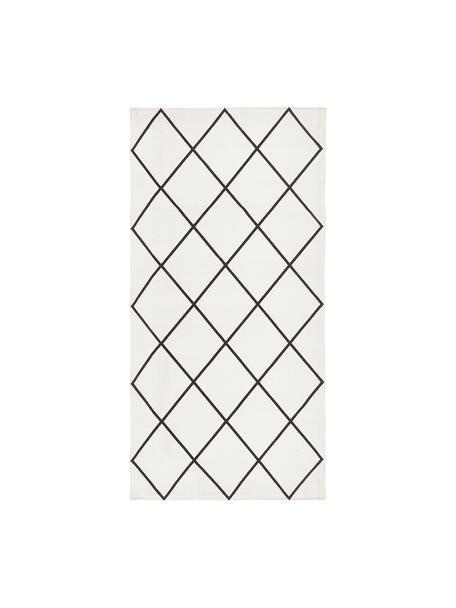 Tappeto in cotone tessuto piatto con motivo rombi Farah, 100% cotone, Bianco crema, nero, Larg. 70 x Lung. 140 cm (taglia XS)