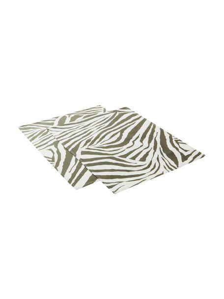 Placemats Zadie met zebrapatroon, 2 stuks, 100% katoen, Olijfgroen, crèmewit, 35 x 45 cm