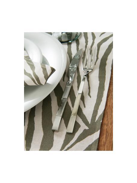 Tovaglietta americana in cotone con motivo zebra Zadie 2 pz, 100% cotone, Verde oliva, bianco crema, Larg. 35 x Lung. 45 cm