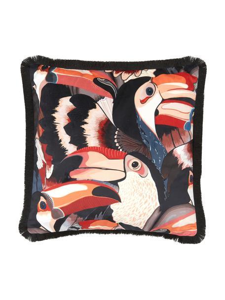 Funda de cojín con flecos Tucan, 100%terciopelo de poliéster, Multicolor, An 40 x L 40 cm