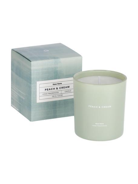 Candela profumata Peaches & Cream (pesca, albicocca), Contenitore: vetro, Verde, bianco, Ø 8 x Alt. 9 cm