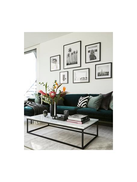 Sofa narożna z aksamitu z metalowymi nogami Moby, Tapicerka: aksamit (wysokiej jakości, Stelaż: lite drewno sosnowe, Nogi: metal malowany proszkowo, Aksamitny ciemny zielony, S 280 x G 160 cm