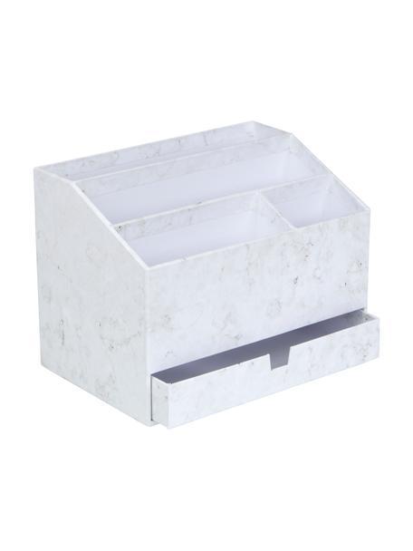 Büro-Organizer Greta, Fester, laminierter Karton, Weiss, marmoriert, 24 x 18 cm