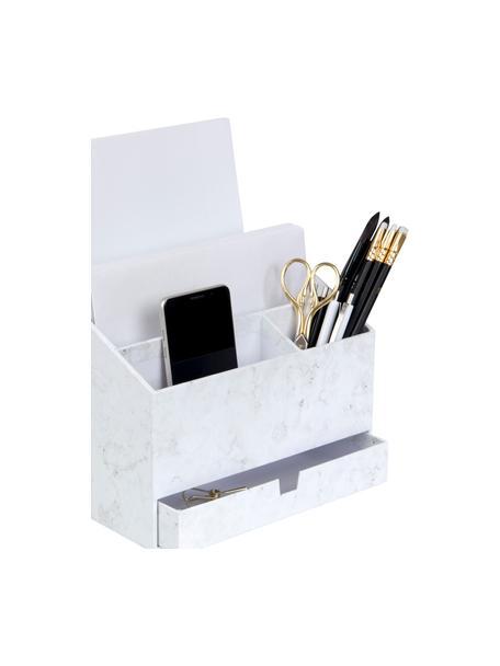 Organizador de escritorio Greta, Cartón laminado macizo, Mármol blanco, An 24 x Al 18 cm