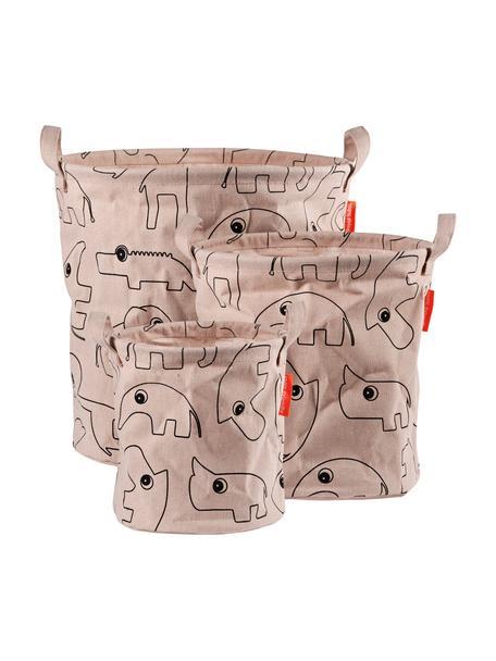 Komplet koszy do przechowywania Contour, 3 elem., 65% bawełna, 35% poliester powlekany PU Produkt posiada certyfikat Öko-Tex, Blady różowy, Komplet z różnymi rozmiarami