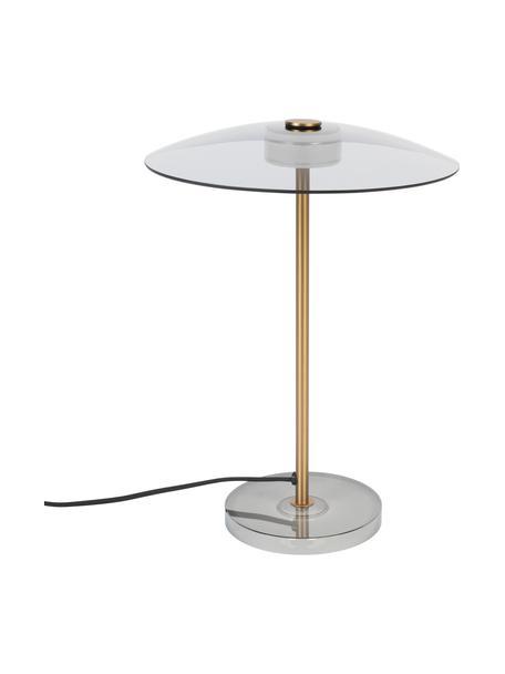 Lámpara de mesa LED regulable de vidrio Float, Pantalla: vidrio, Cable: cubierto en tela, Dorado, transparente, Ø 30 x 42 cm