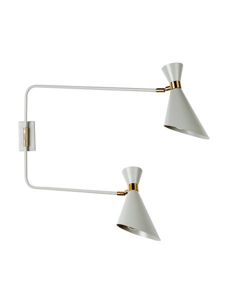 Wandleuchte Double Shady mit Stecker, Lampenschirm: Metall, pulverbeschichtet, Grau, Messing, 87 x 60 cm
