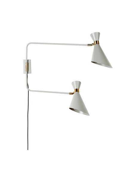 Applique con spina Double Shady, Paralume: metallo verniciato a polv, Decorazione: metallo ottonato, Grigio, ottone, Larg. 87 x Alt. 60 cm