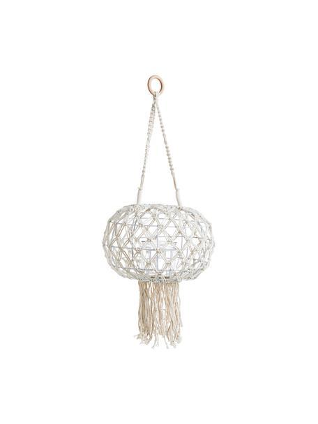 Hangende lantaarn Macrame, Frame: metaal, Wit, Ø 31 x H 70 cm